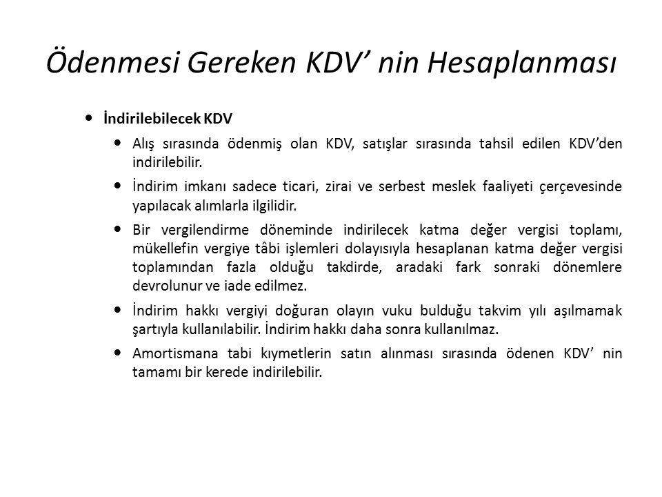 Ödenmesi Gereken KDV' nin Hesaplanması