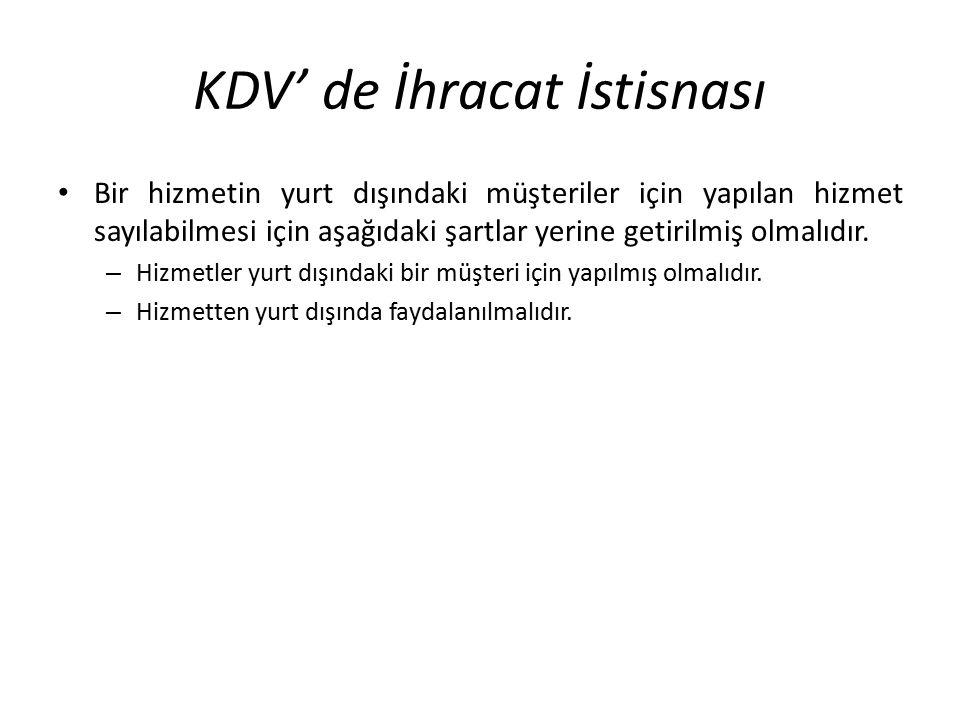 KDV' de İhracat İstisnası