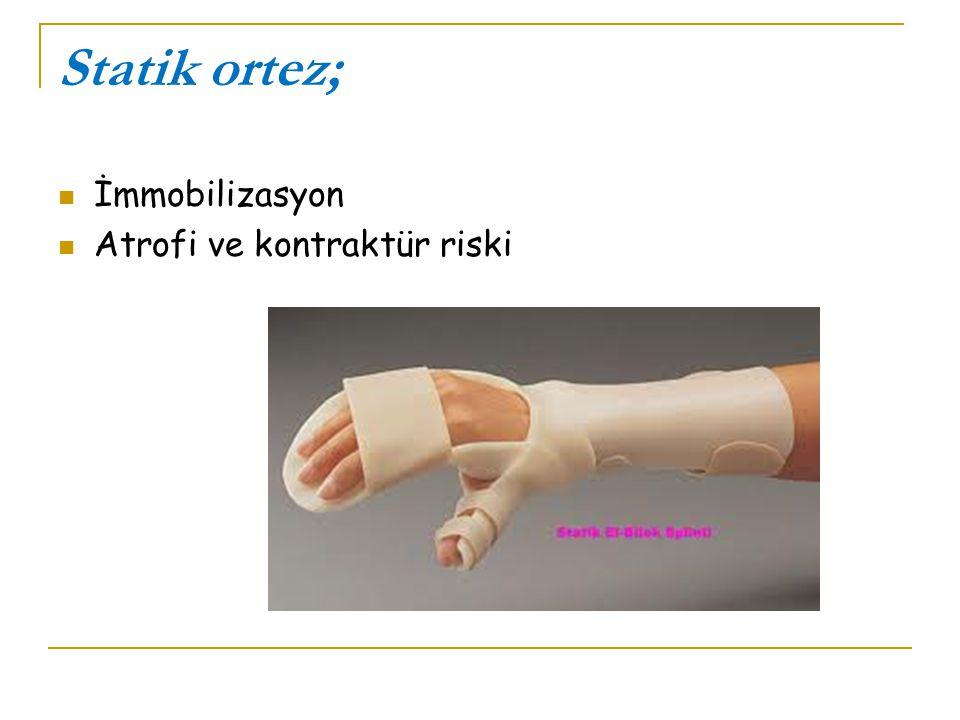 Statik ortez; İmmobilizasyon Atrofi ve kontraktür riski