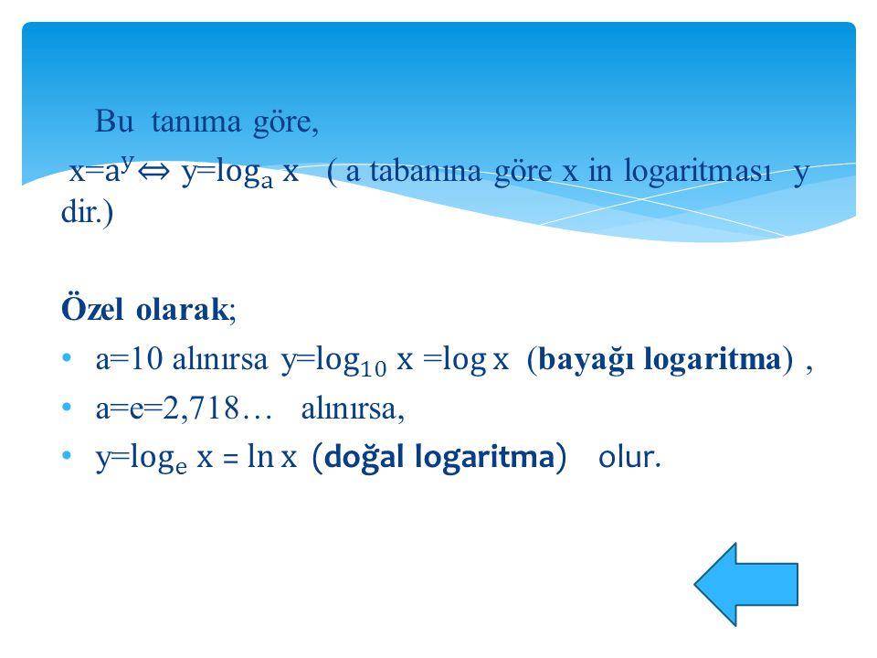 Bu tanıma göre, x= a y ⇔ y= log a x ( a tabanına göre x in logaritması y dir.) Özel olarak;