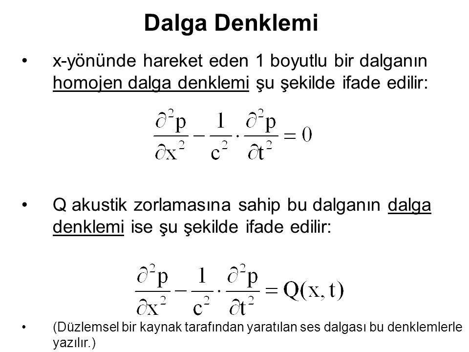 Dalga Denklemi x-yönünde hareket eden 1 boyutlu bir dalganın homojen dalga denklemi şu şekilde ifade edilir: