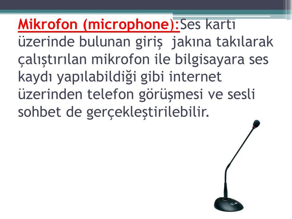 Mikrofon (microphone):Ses kartı üzerinde bulunan giriş jakına takılarak çalıştırılan mikrofon ile bilgisayara ses kaydı yapılabildiği gibi internet üzerinden telefon görüşmesi ve sesli sohbet de gerçekleştirilebilir.