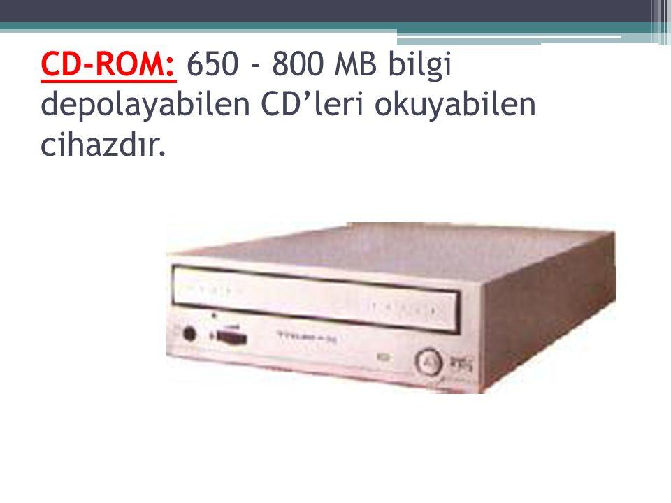 CD-ROM: 650 - 800 MB bilgi depolayabilen CD'leri okuyabilen cihazdır.