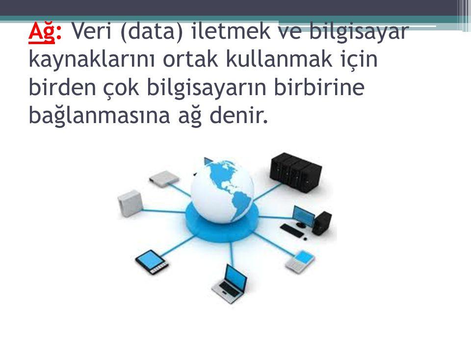 Ağ: Veri (data) iletmek ve bilgisayar kaynaklarını ortak kullanmak için birden çok bilgisayarın birbirine bağlanmasına ağ denir.