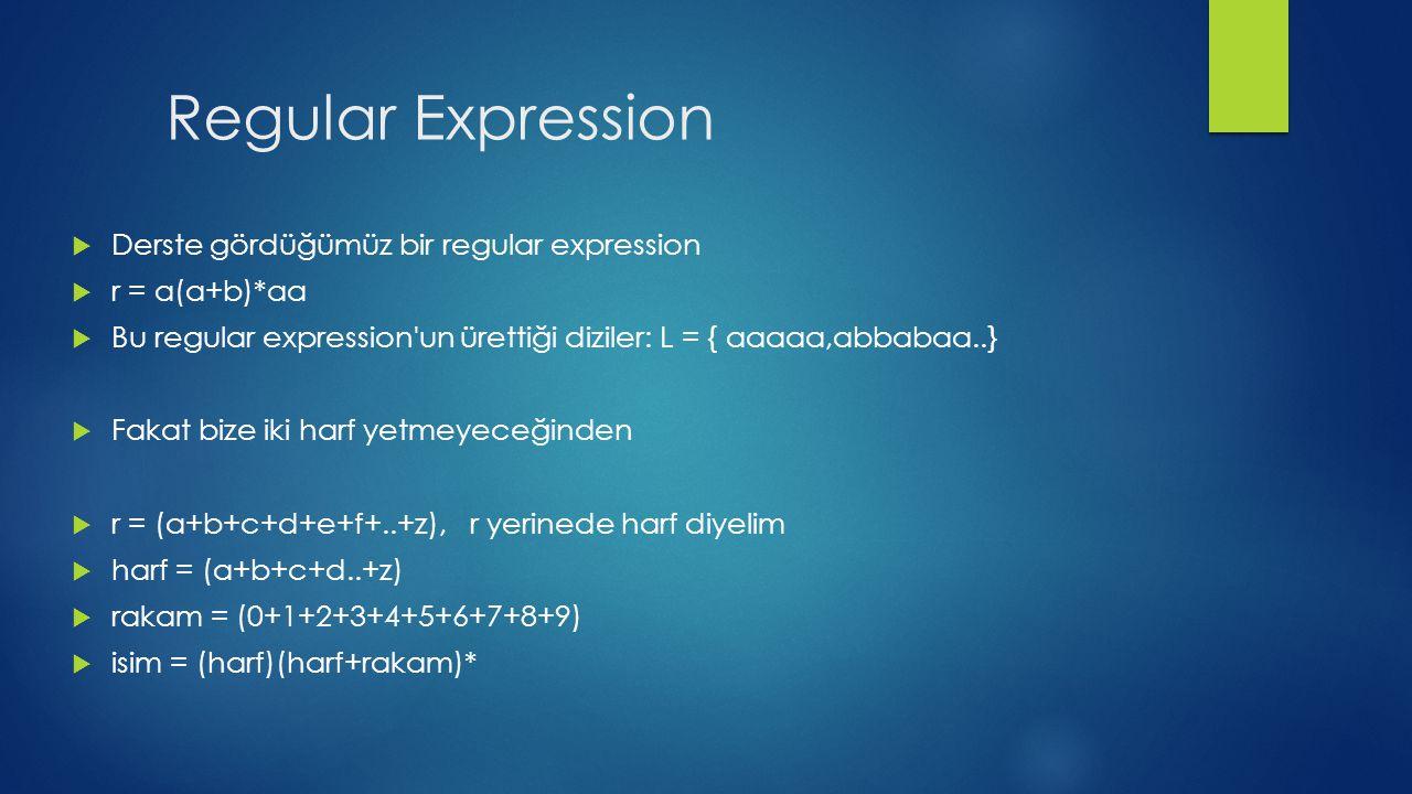 Regular Expression Derste gördüğümüz bir regular expression