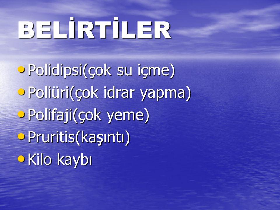BELİRTİLER Polidipsi(çok su içme) Poliüri(çok idrar yapma)