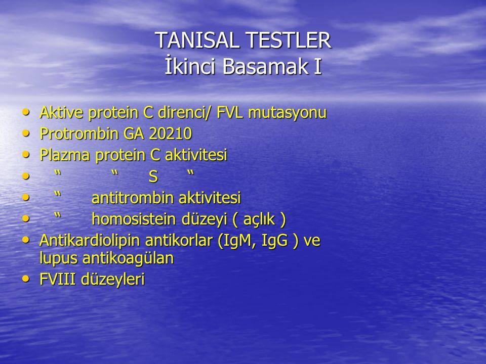 TANISAL TESTLER İkinci Basamak I