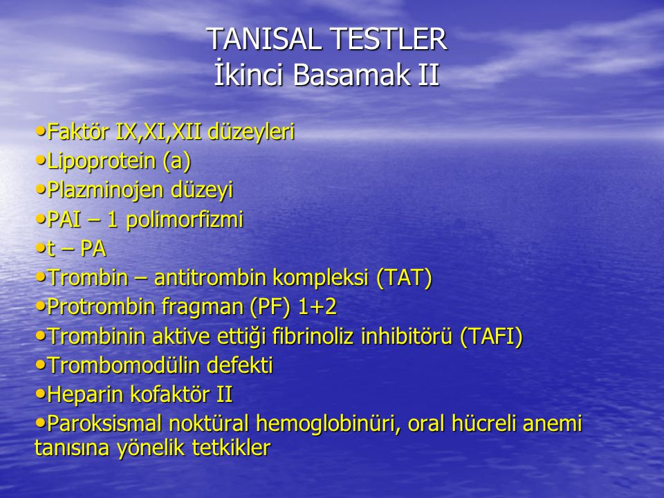 TANISAL TESTLER İkinci Basamak II