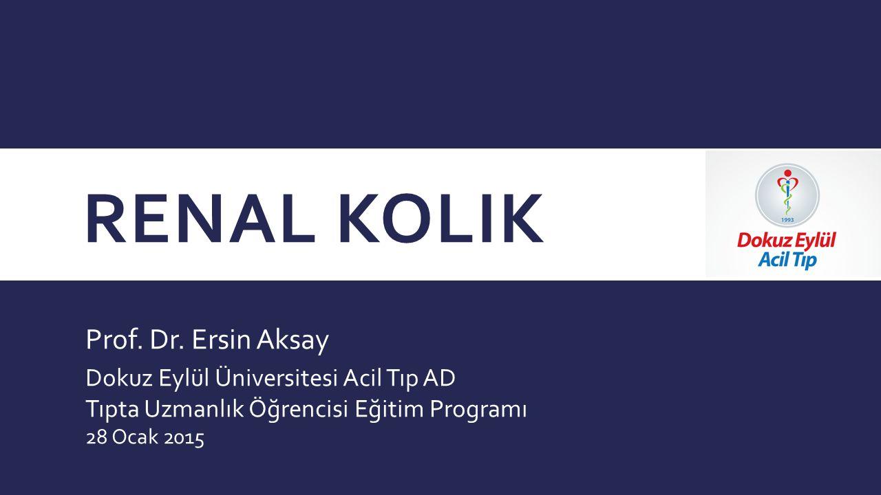 Renal Kolik Prof. Dr. Ersin Aksay Dokuz Eylül Üniversitesi Acil Tıp AD