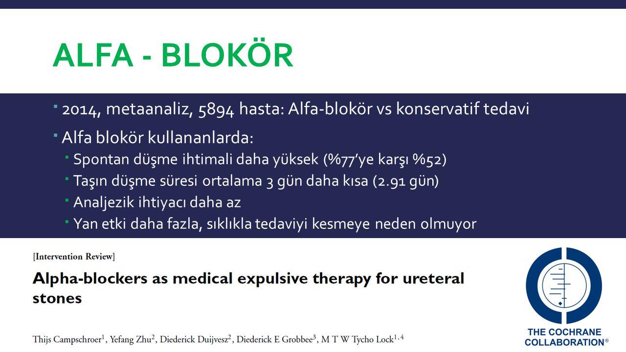 AlFA - Blokör 2014, metaanaliz, 5894 hasta: Alfa-blokör vs konservatif tedavi. Alfa blokör kullananlarda: