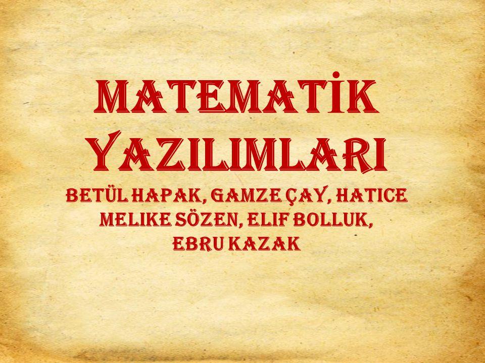 MATEMATİK YAZILIMLARI Betül Hapak, Gamze Çay, Hatice Melike Sözen, Elif Bolluk, Ebru Kazak