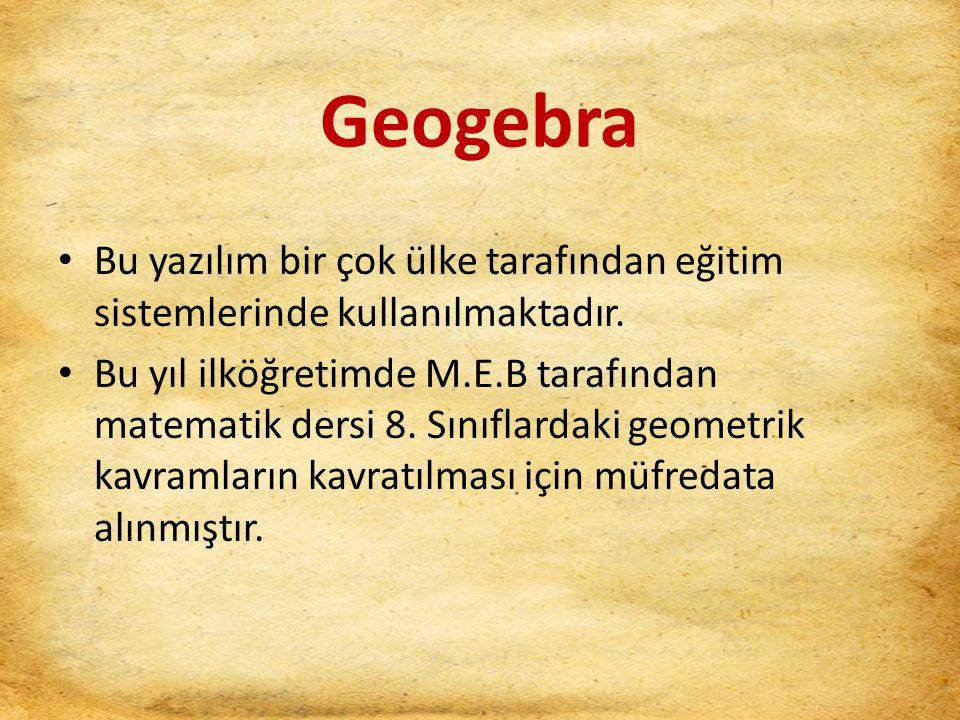 Geogebra Bu yazılım bir çok ülke tarafından eğitim sistemlerinde kullanılmaktadır.