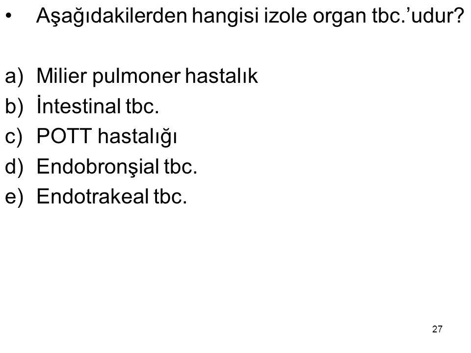 Aşağıdakilerden hangisi izole organ tbc.'udur