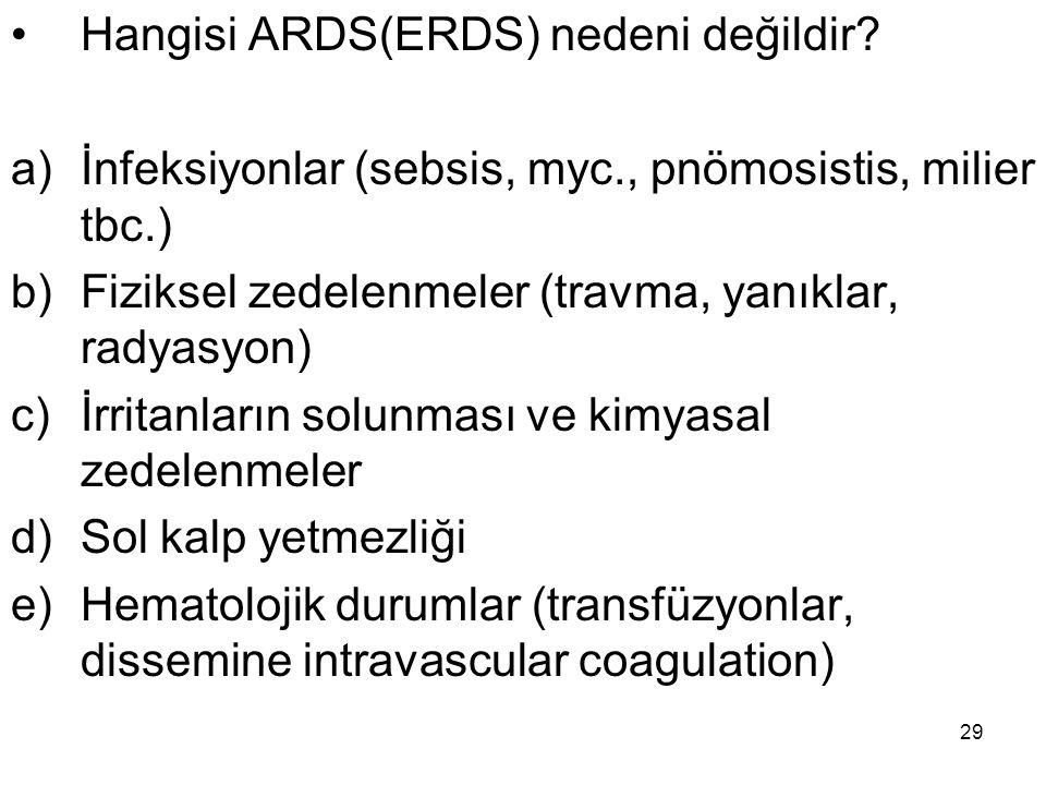 Hangisi ARDS(ERDS) nedeni değildir
