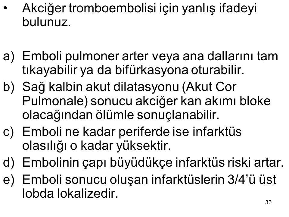 Akciğer tromboembolisi için yanlış ifadeyi bulunuz.