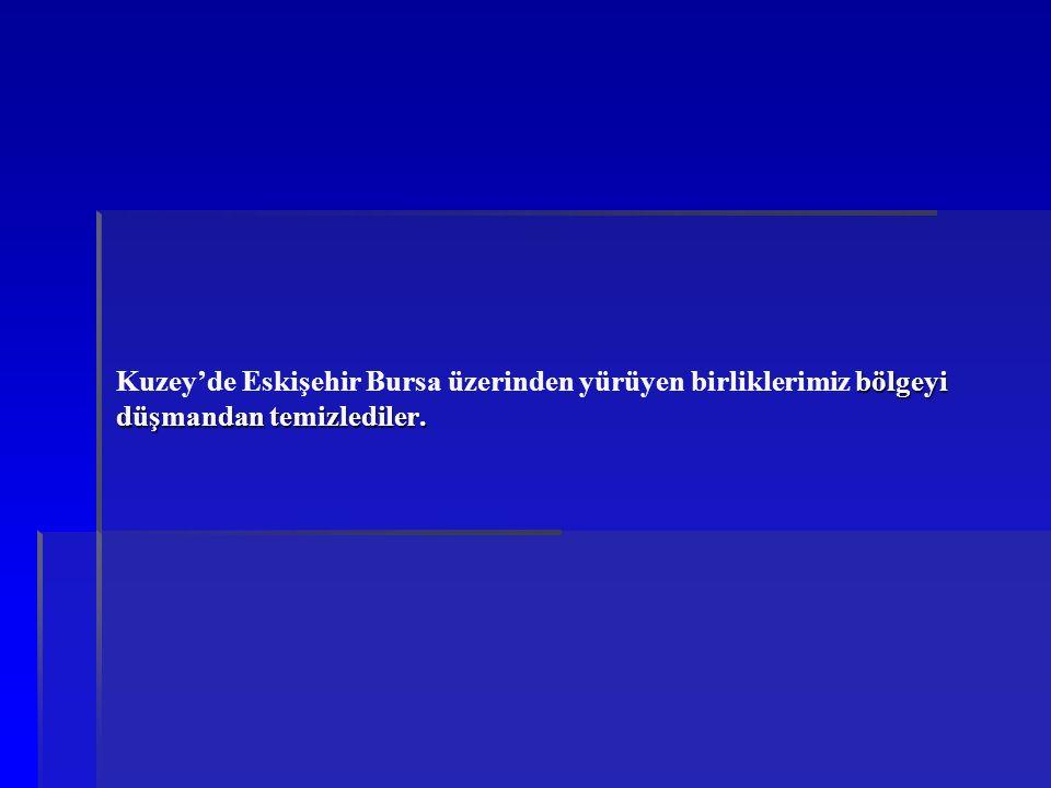 Kuzey'de Eskişehir Bursa üzerinden yürüyen birliklerimiz bölgeyi düşmandan temizlediler.
