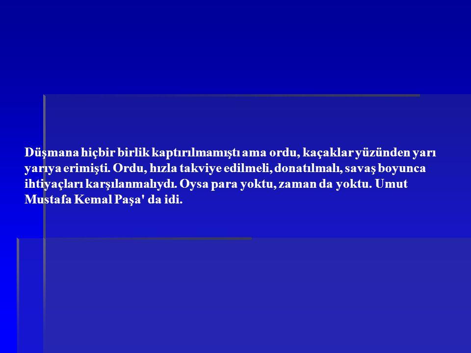 Düşmana hiçbir birlik kaptırılmamıştı ama ordu, kaçaklar yüzünden yarı yarıya erimişti. Ordu, hızla takviye edilmeli, donatılmalı, savaş boyunca ihtiyaçları karşılanmalıydı. Oysa para yoktu, zaman da yoktu. Umut Mustafa Kemal Paşa da idi.