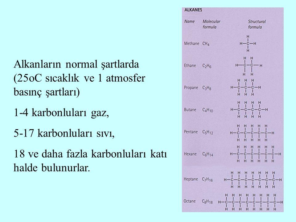 Alkanların normal şartlarda (25oC sıcaklık ve 1 atmosfer basınç şartları)