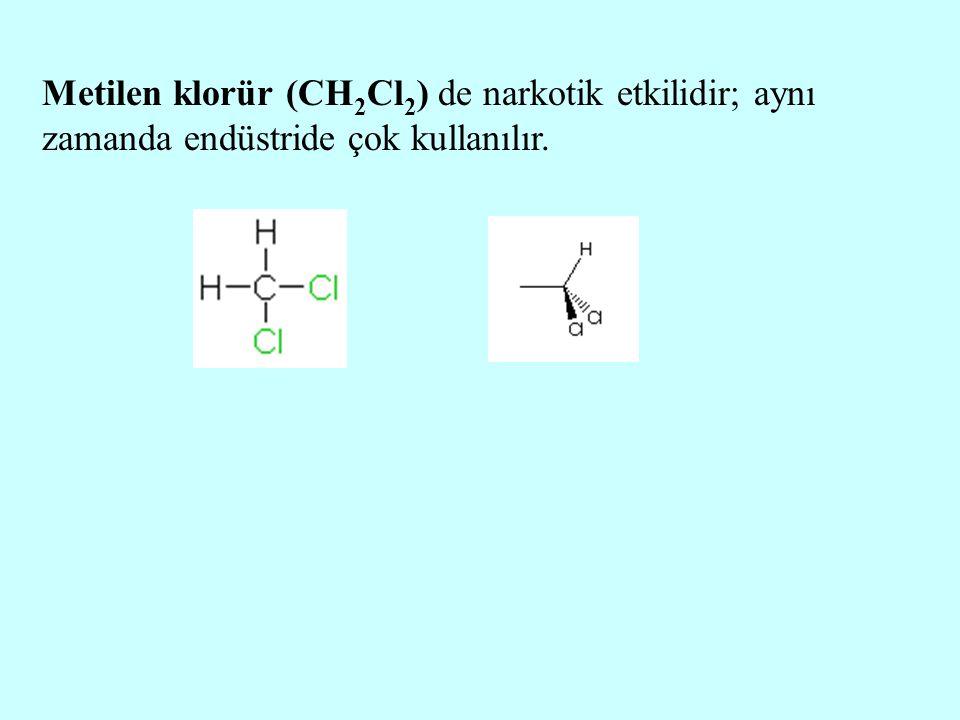 Metilen klorür (CH2Cl2) de narkotik etkilidir; aynı zamanda endüstride çok kullanılır.