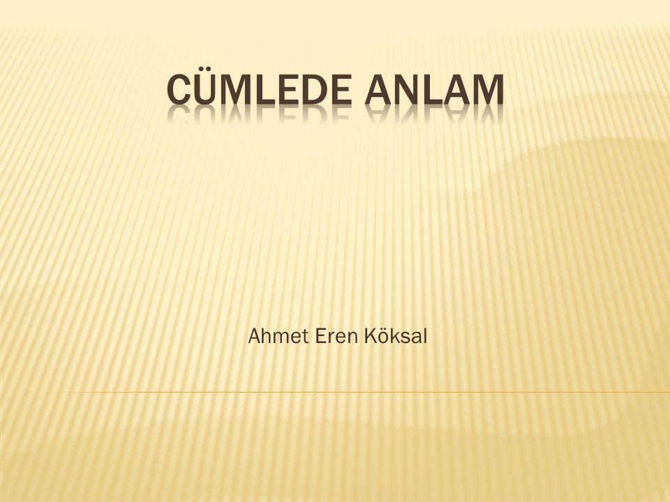 CÜMLEDE ANLAM Ahmet Eren Köksal