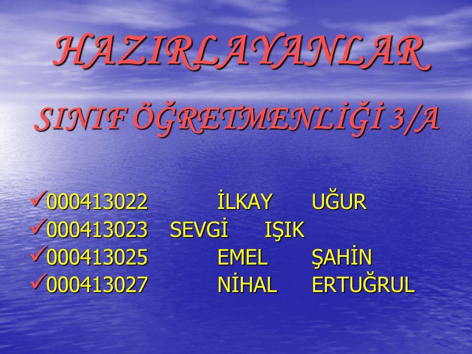 HAZIRLAYANLAR SINIF ÖĞRETMENLİĞİ 3/A 000413022 İLKAY UĞUR