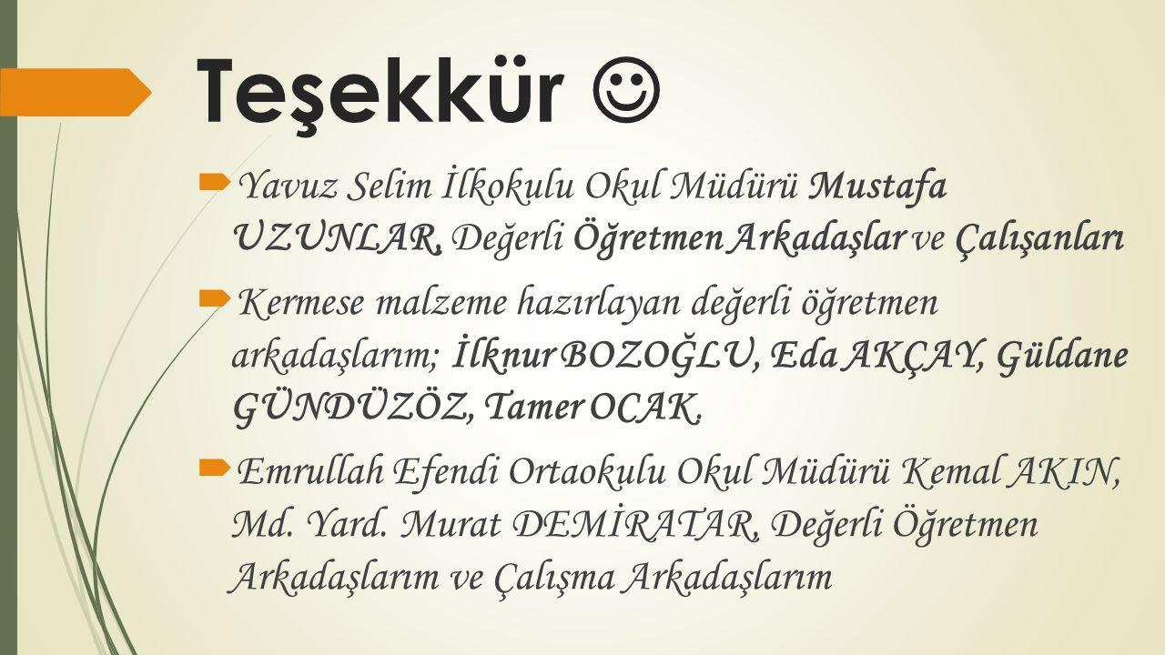 Teşekkür  Yavuz Selim İlkokulu Okul Müdürü Mustafa UZUNLAR, Değerli Öğretmen Arkadaşlar ve Çalışanları.