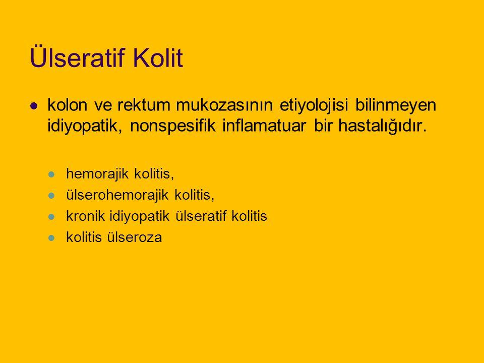 Ülseratif Kolit kolon ve rektum mukozasının etiyolojisi bilinmeyen idiyopatik, nonspesifik inflamatuar bir hastalığıdır.