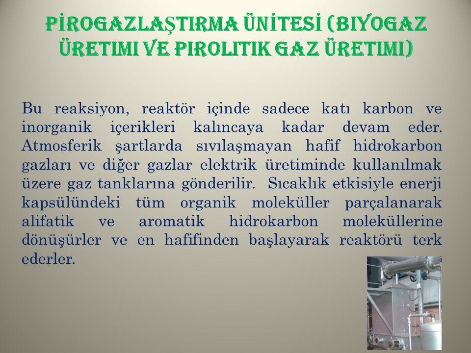 PİROGAZLAŞTIRMA ÜNİTESİ (Biyogaz üretimi ve Pirolitik gaz üretimi)