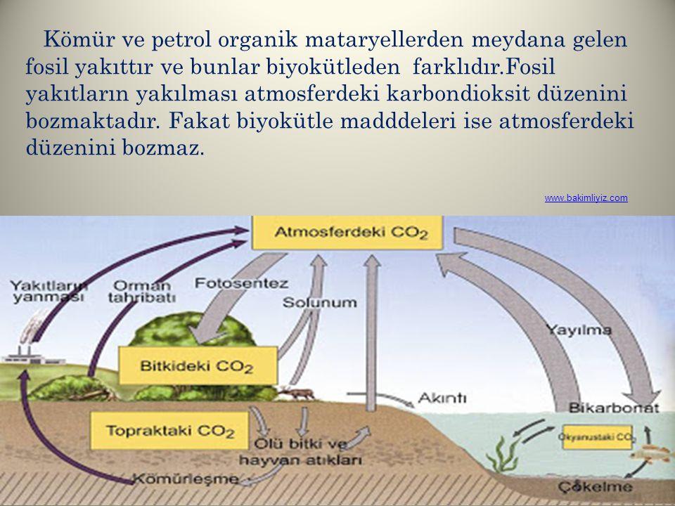Kömür ve petrol organik mataryellerden meydana gelen fosil yakıttır ve bunlar biyokütleden farklıdır.Fosil yakıtların yakılması atmosferdeki karbondioksit düzenini bozmaktadır. Fakat biyokütle madddeleri ise atmosferdeki düzenini bozmaz.