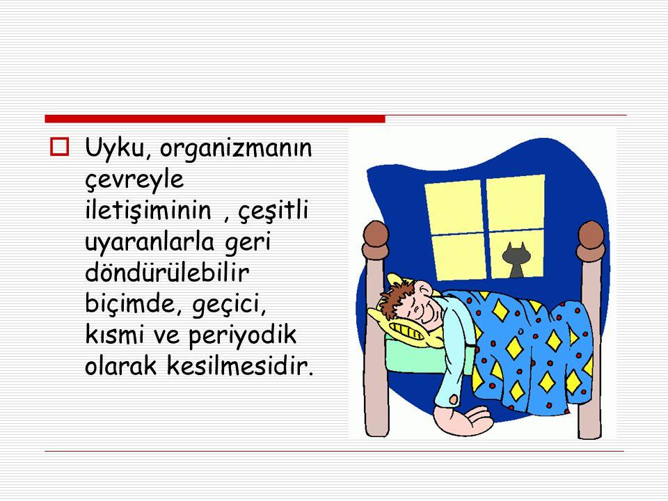 Uyku, organizmanın çevreyle iletişiminin , çeşitli uyaranlarla geri döndürülebilir biçimde, geçici, kısmi ve periyodik olarak kesilmesidir.