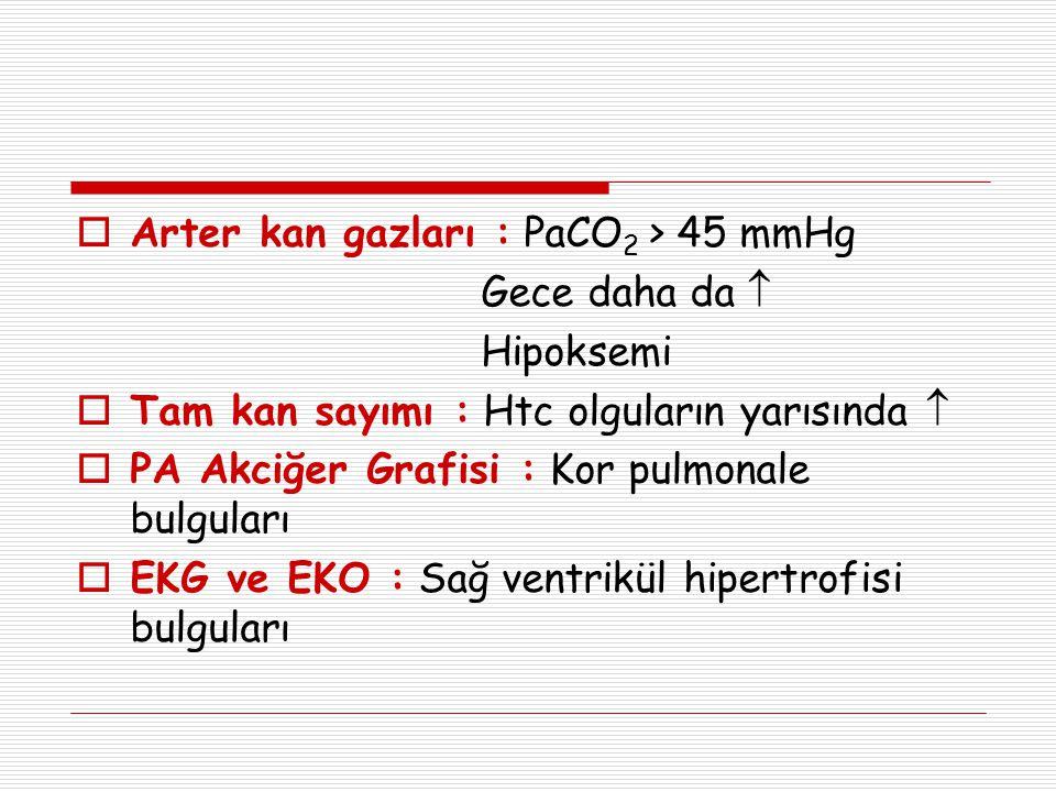Arter kan gazları : PaCO2 > 45 mmHg