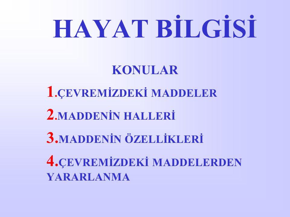 HAYAT BİLGİSİ 1.ÇEVREMİZDEKİ MADDELER 2.MADDENİN HALLERİ