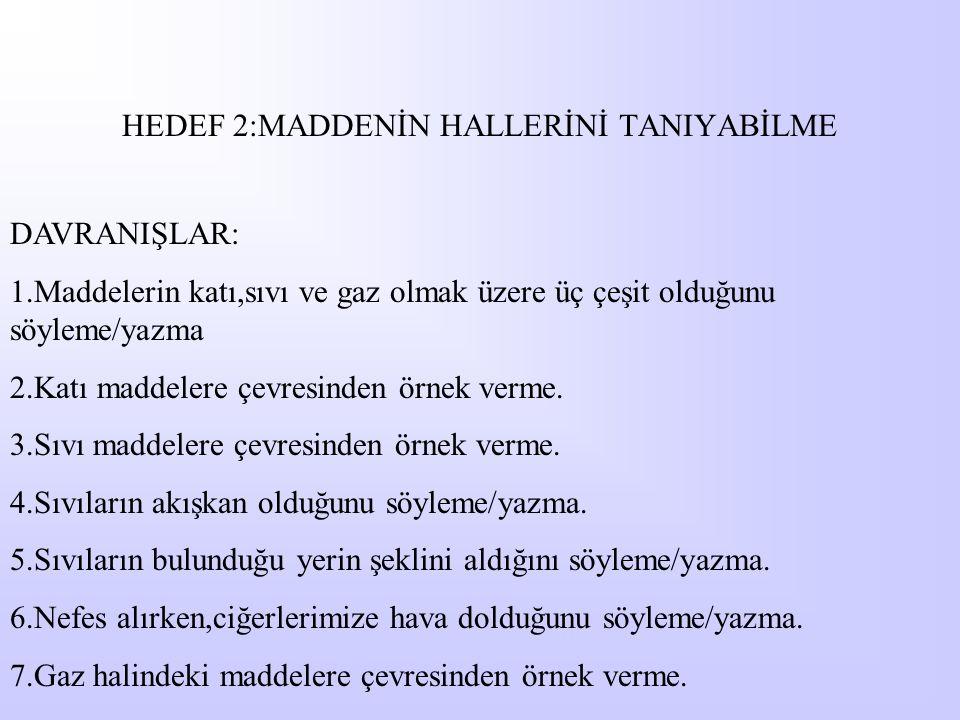 HEDEF 2:MADDENİN HALLERİNİ TANIYABİLME