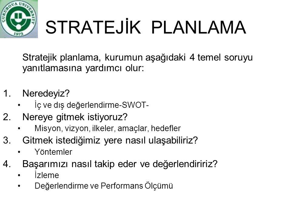 STRATEJİK PLANLAMA Stratejik planlama, kurumun aşağıdaki 4 temel soruyu yanıtlamasına yardımcı olur: