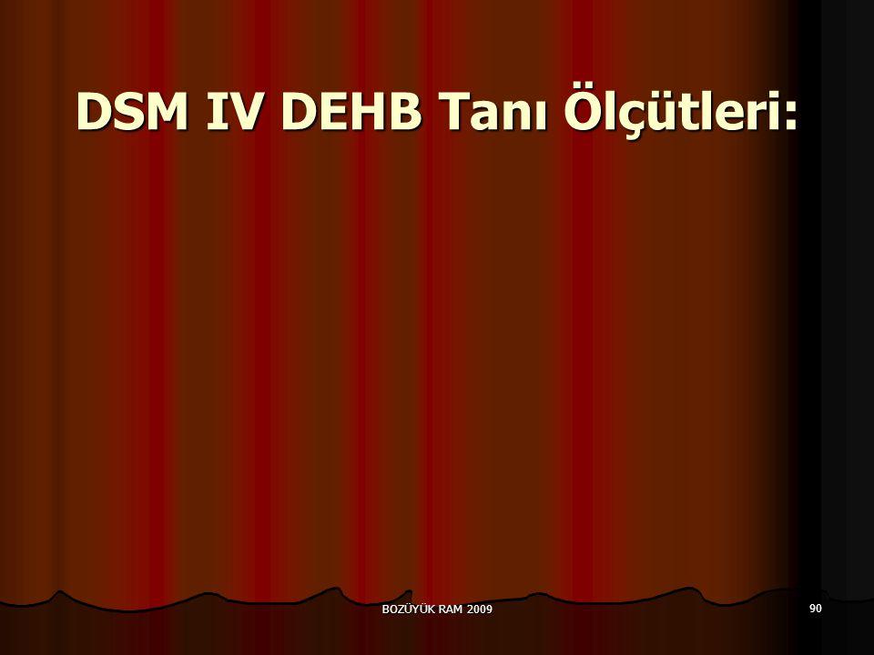 DSM IV DEHB Tanı Ölçütleri: