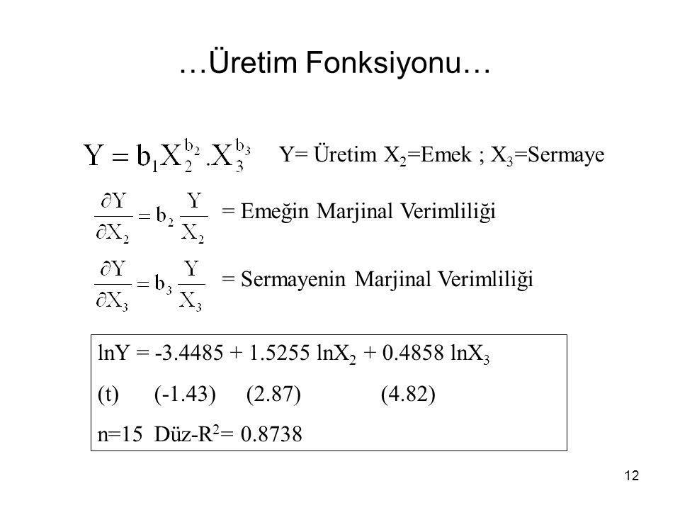 …Üretim Fonksiyonu… Y= Üretim X2=Emek ; X3=Sermaye