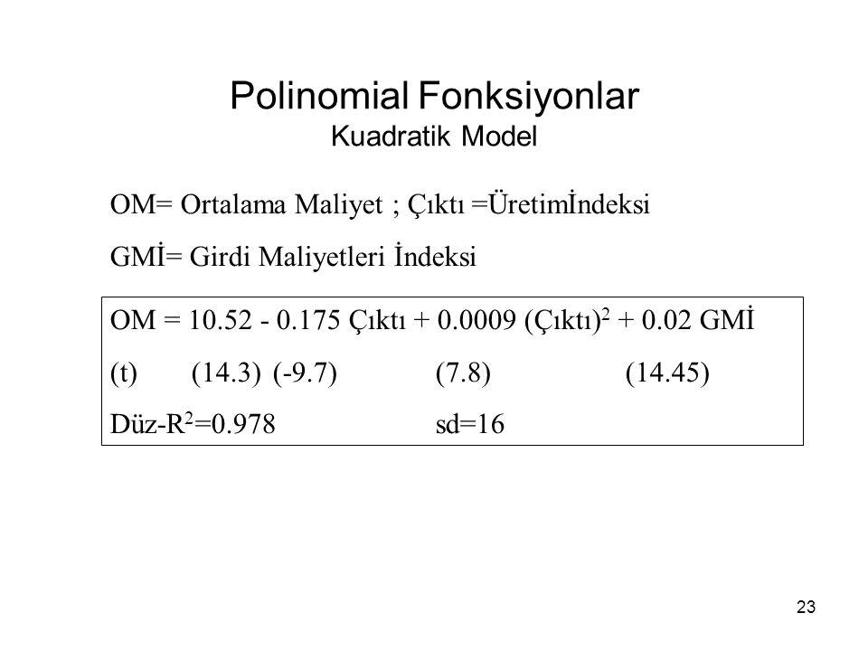 Polinomial Fonksiyonlar Kuadratik Model