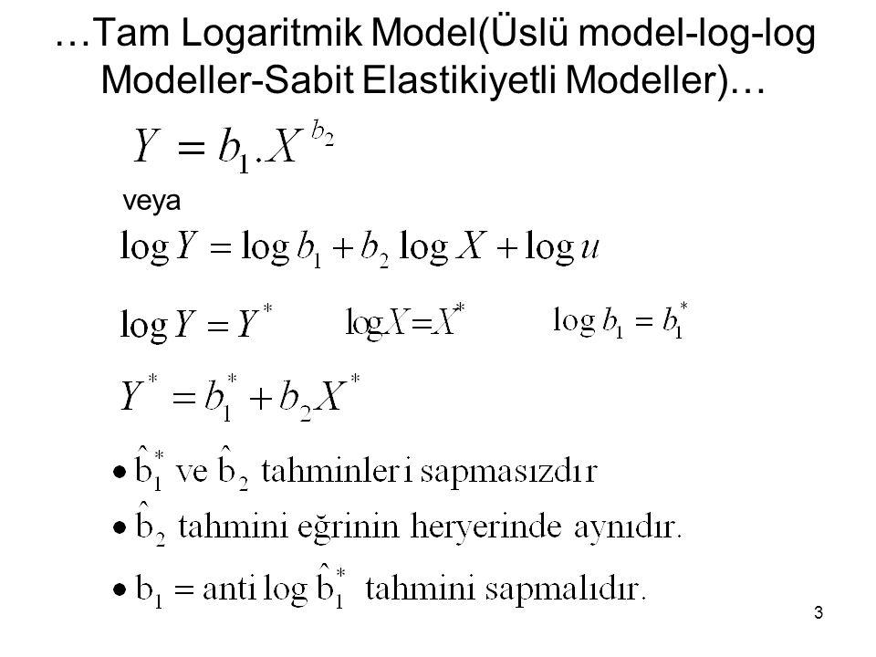 …Tam Logaritmik Model(Üslü model-log-log Modeller-Sabit Elastikiyetli Modeller)…