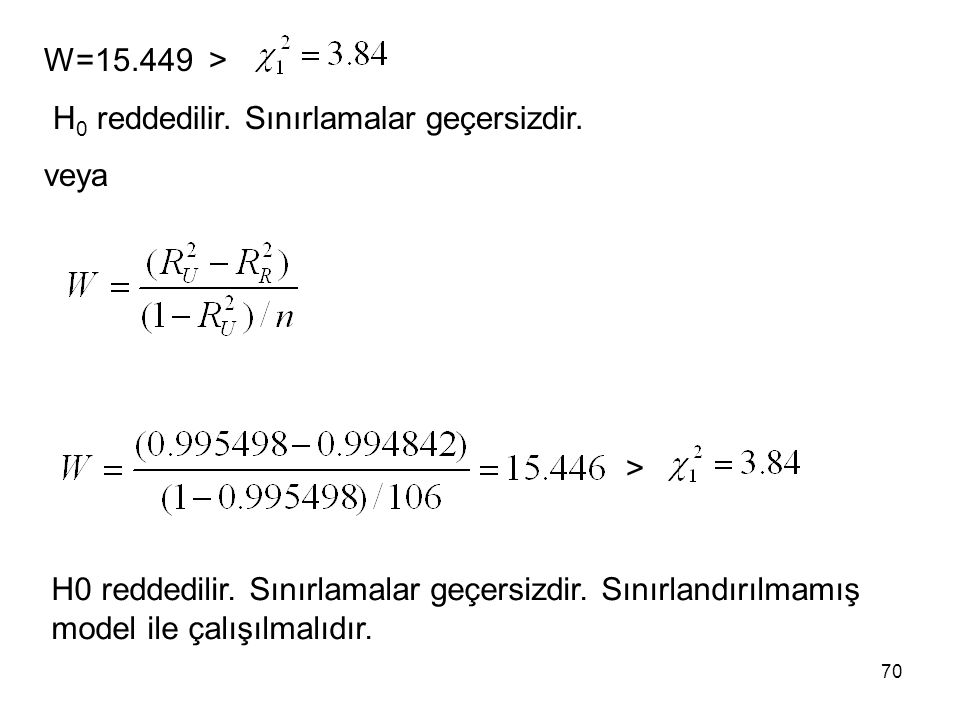 W=15.449 > H0 reddedilir. Sınırlamalar geçersizdir.