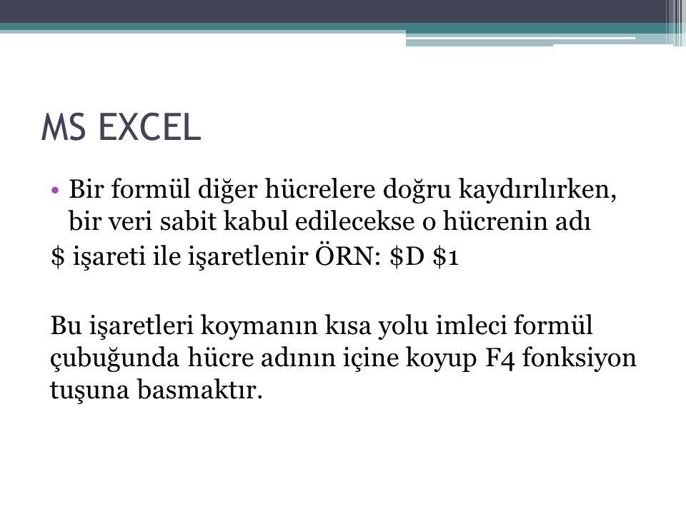MS EXCEL Bir formül diğer hücrelere doğru kaydırılırken, bir veri sabit kabul edilecekse o hücrenin adı.