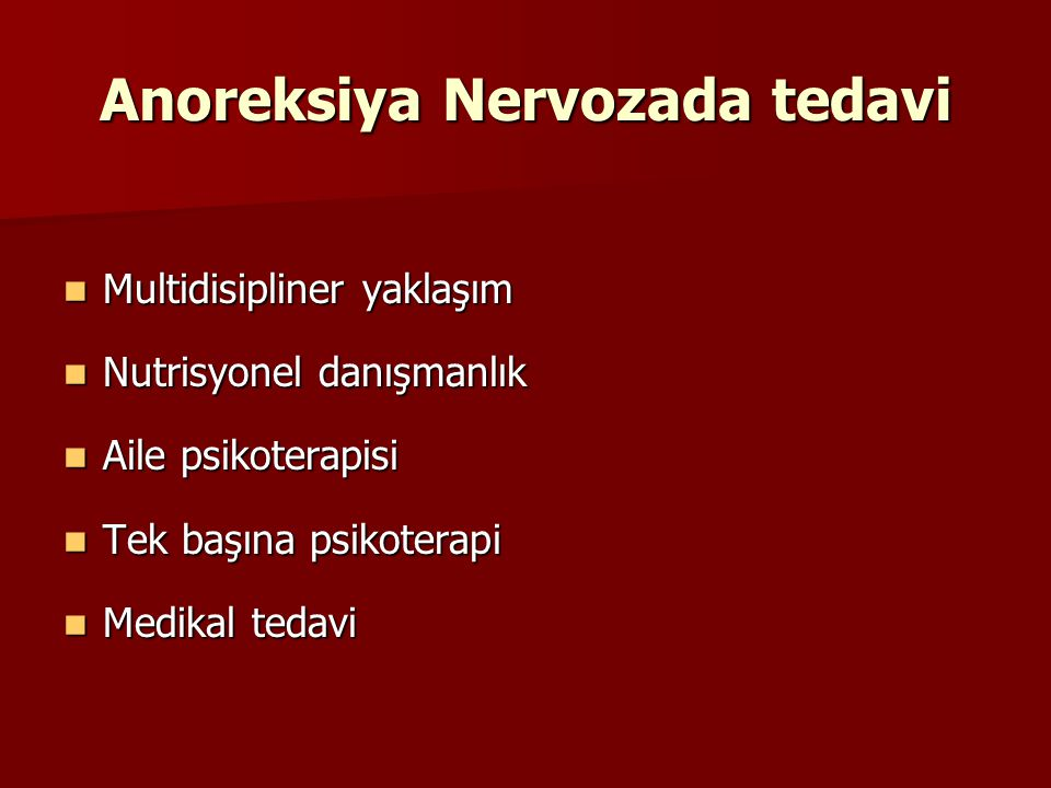 Anoreksiya Nervozada tedavi
