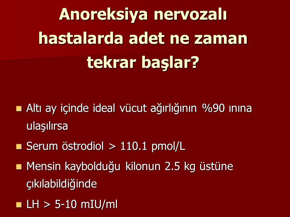 Anoreksiya nervozalı hastalarda adet ne zaman tekrar başlar
