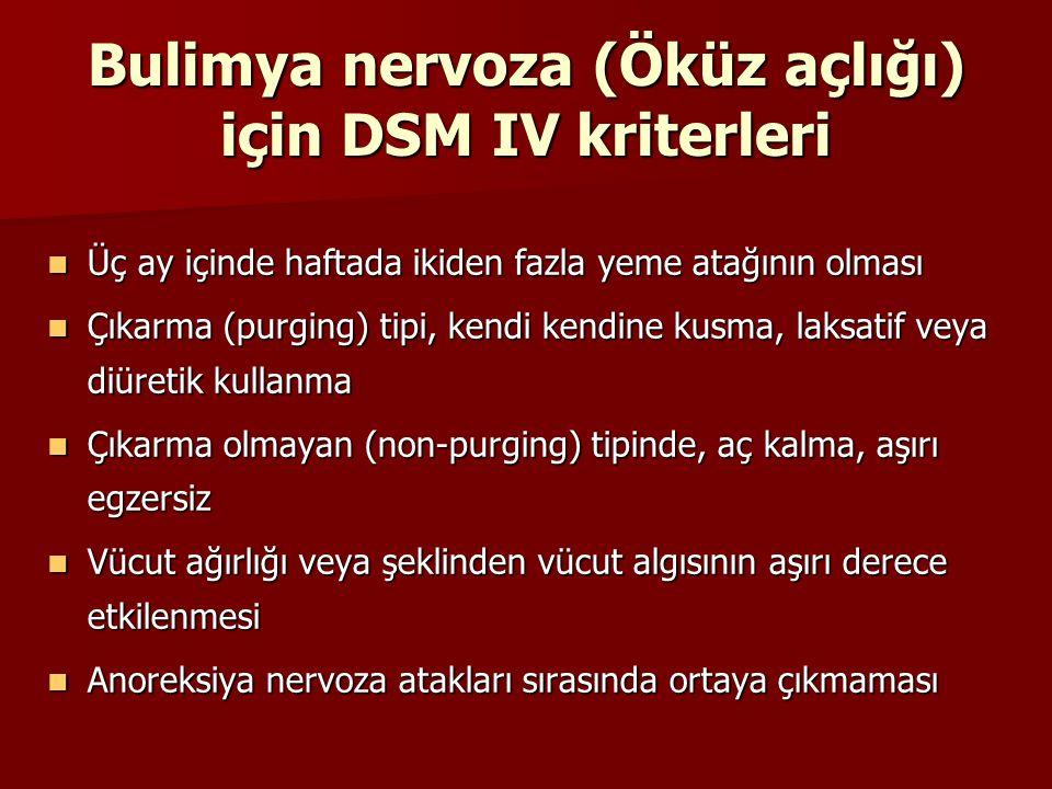 Bulimya nervoza (Öküz açlığı) için DSM IV kriterleri