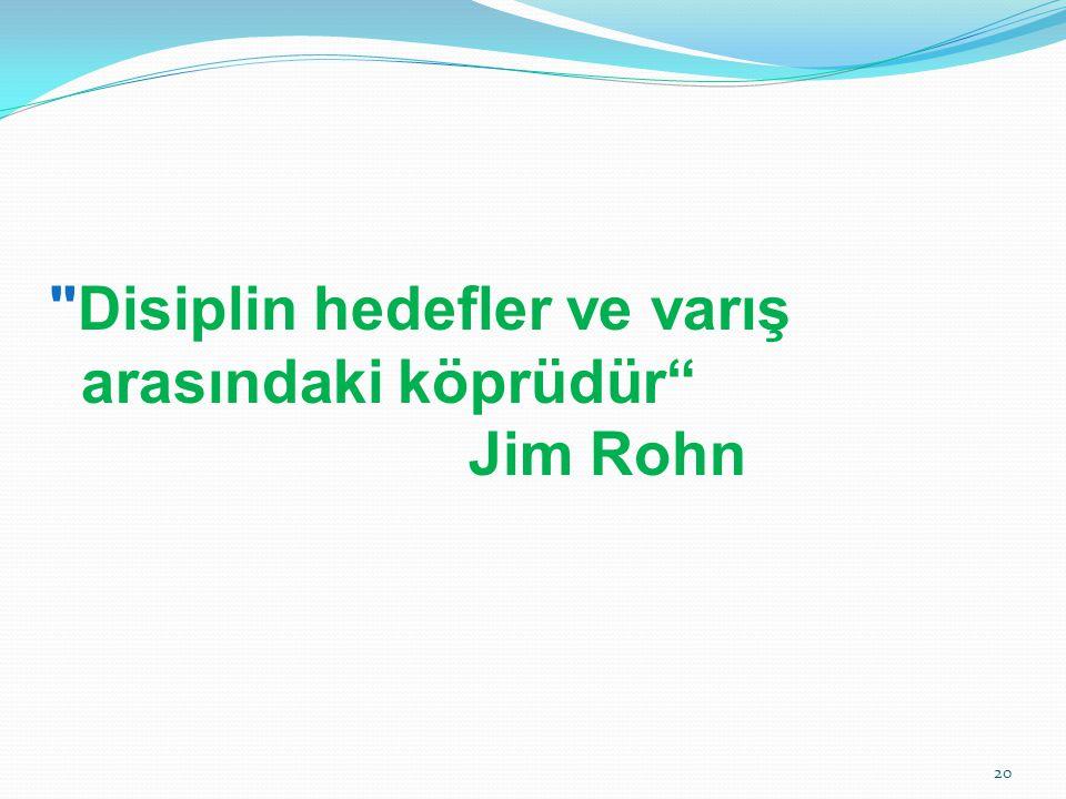 Disiplin hedefler ve varış arasındaki köprüdür Jim Rohn