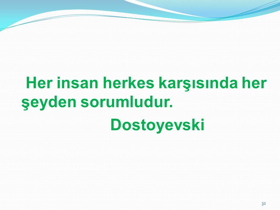 Her insan herkes karşısında her şeyden sorumludur. Dostoyevski
