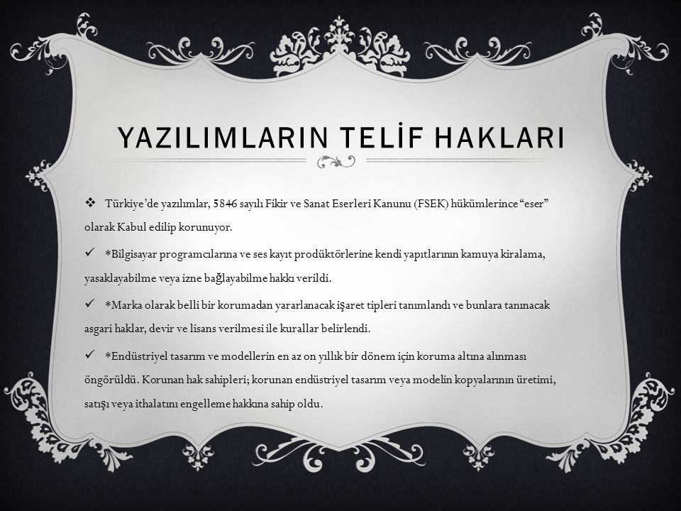 YAZILIMLARIN TELİF HAKLARI