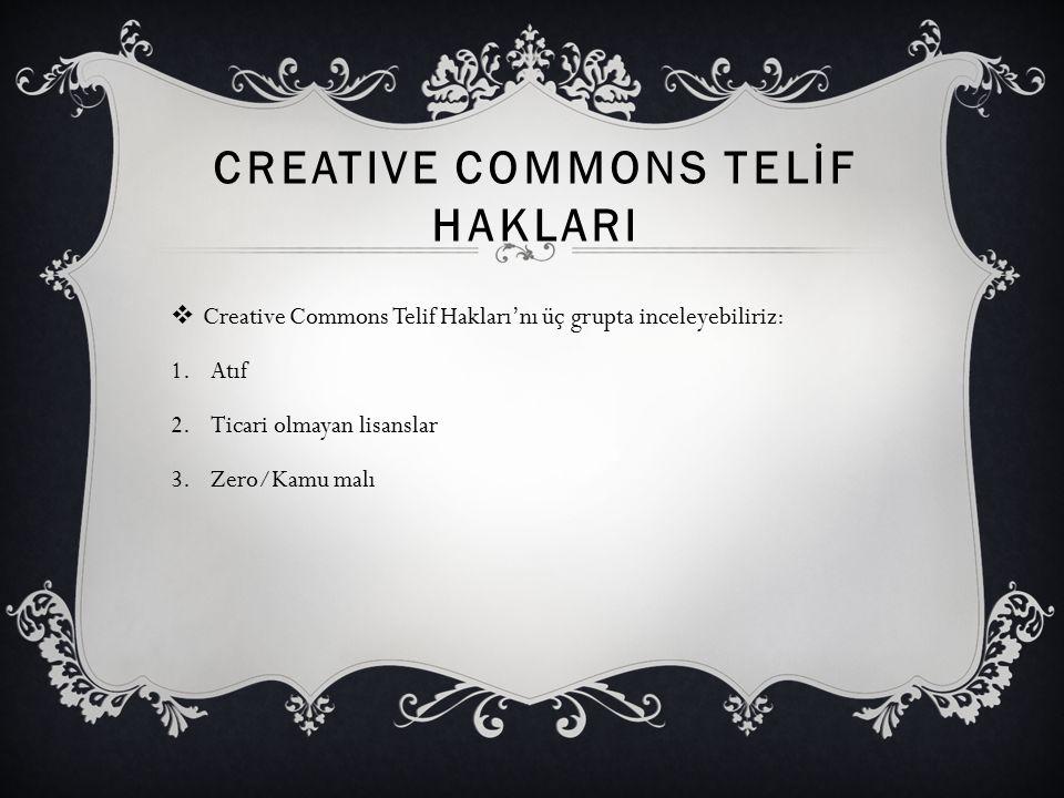 Creative Commons TELİF HAKLARI
