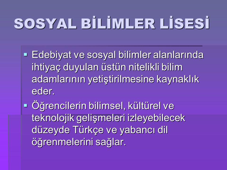 SOSYAL BİLİMLER LİSESİ