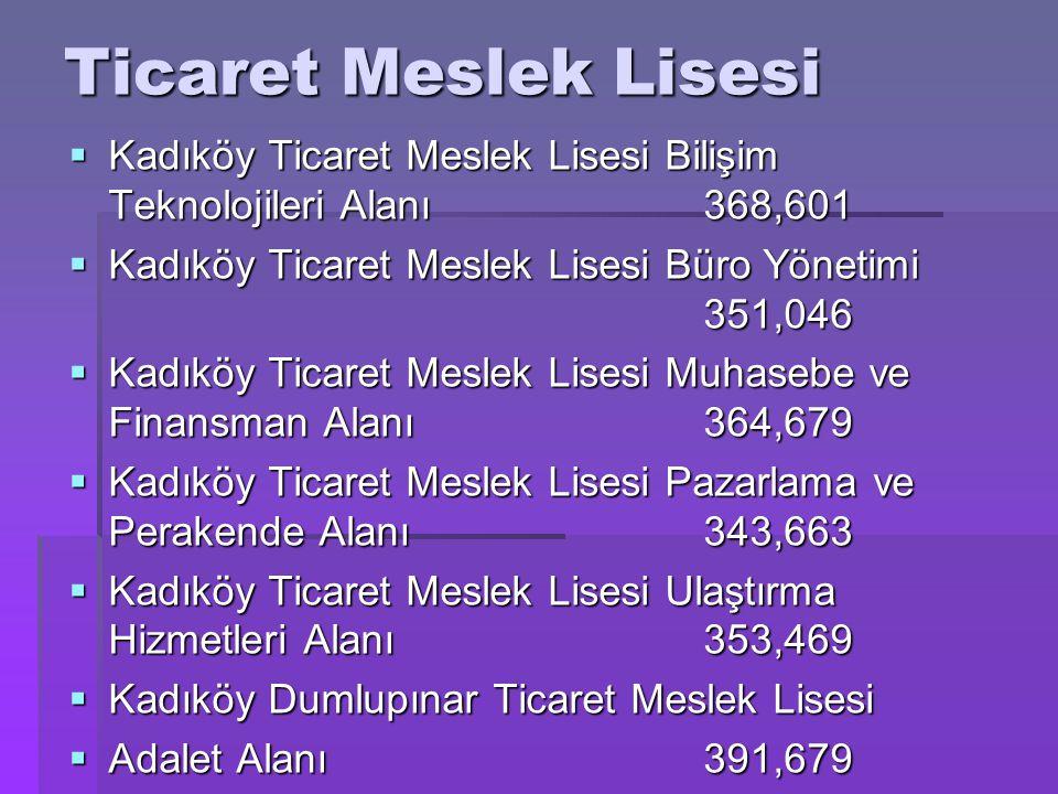 Ticaret Meslek Lisesi Kadıköy Ticaret Meslek Lisesi Bilişim Teknolojileri Alanı 368,601. Kadıköy Ticaret Meslek Lisesi Büro Yönetimi 351,046.