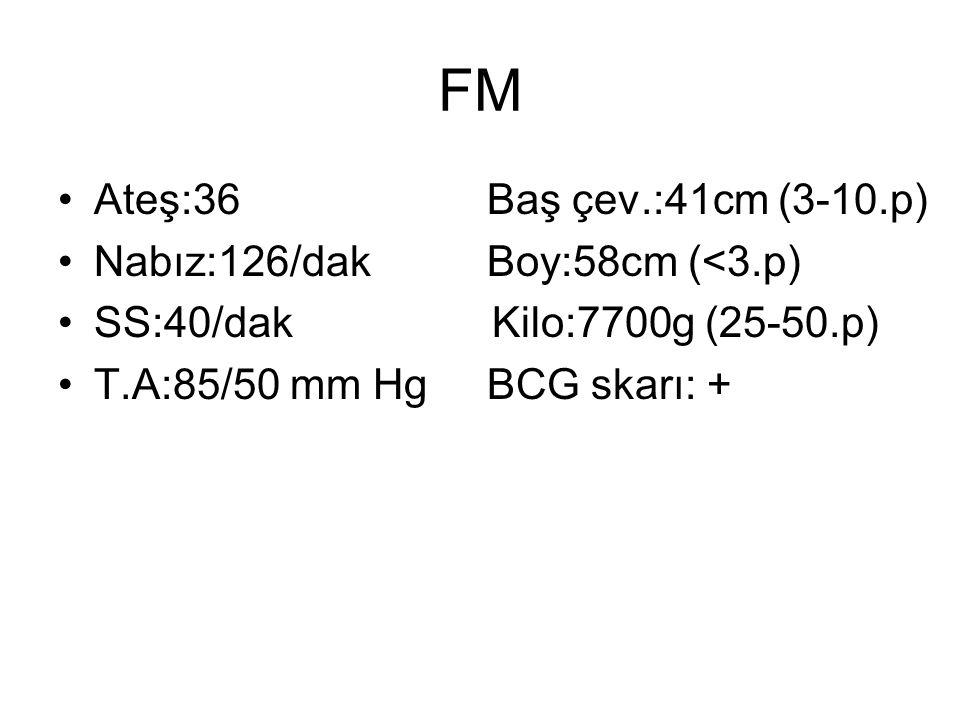 FM Ateş:36 Baş çev.:41cm (3-10.p) Nabız:126/dak Boy:58cm (<3.p)